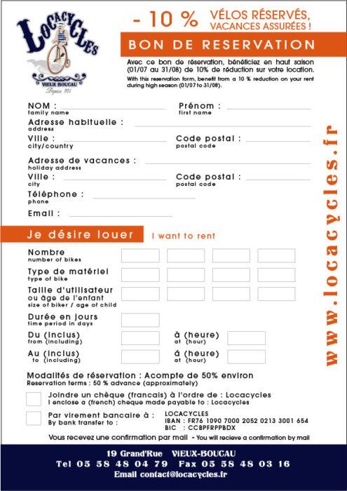 Locacycles Vieux Boucau - Bon de réservation